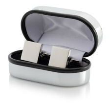 Personalised Square Silver Cufflinks with Luxury Chrome Case - Engraved