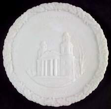 Fenton Christmas Plate-White Satin Glass 1972 Two Horned Church 65530