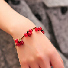 Women's Vintage Crystal Red Beads Sweet Cherry Chain Bracelet Fashion Jewelry