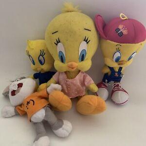 Vintage Looney Tunes Plush 1999 X 4 Tweety Bird Bugs Bunny Toy Warner Brothers
