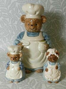 OTAGIRI Set of 3 Mr & Mrs Bear Salt & Pepper Cruet Set with Large Bear Jar