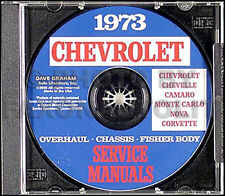 1973 Chevrolet CD Shop Manual Camaro Nova Corvette Impala Caprice Bel Air Chevy