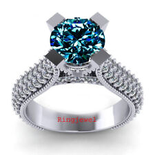 3.03 Ct Blue Moissanite Solitaire Diamond Engagement Ring 925 Sterling Silver