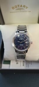 Rotary Men's Quartz Watch Blue Dial Analogue Display & Silver Stainless Steel