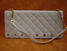 ST JOHN Italy Quilted Handbag purse gold button chain strap classic beige