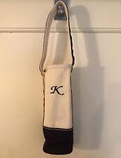 Lands End Canvas Wine Tote Bag Single Bottle Navy Natural K Monogram New