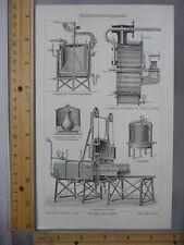 Rare Antique Original VTG Milchverarbeitung Dairy Machine Illustration Art Print