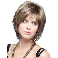 Fashion Sexy Women Short Brown Blonde Natural Hair Wigs Cosplay Men Boy Wig