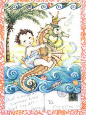 Magical Seahorse-Handcrafted Beach Fridge Magnet-Using art by Mary Engelbreit