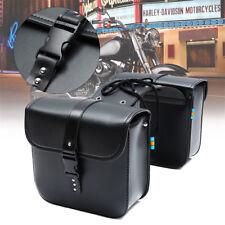 2x Universal Motorcycle Saddle Tool Bag Side Pannier Luggage Bags PU Leather AU