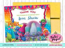 10 TROLLS Movie Princess Poppy Bridge Birthday Party Thank You Cards Flat 4.25x5