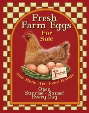 "TIN SIGN ""Farm Fresh Eggs Checkered"" Dairy Art Deco Garage Wall Decor"