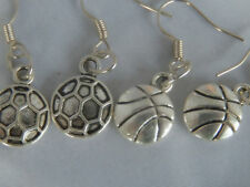 Netball Basketball earrings choice of 2 charms Patterned Circles, Plainstripes