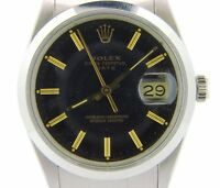 Mens Rolex Date Stainless Steel Watch Quickset Oyster Bracelet Black Dial 15000