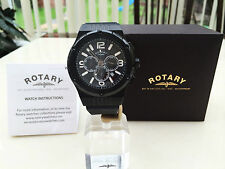 ROTARY Mens Watch Black Chronograph Ion Plated Rubber Strap RRP £250 New Boxed