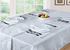 """Luxury Damask Pack of 4 Rectangle Placemats in White, 13"""" x 18"""""""