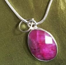 Real facet raw cherry ruby pendant & Free 925 marked chain.UK SALE