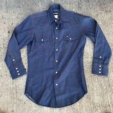 Vintage WRANGLER Dark denim pearl snap shirt 15 x 32 Rockabilly Western NWOT