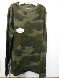 BOYS SIZE XLARGE URBAN PIPELINE OLIVE CAMO LONG SLEEVE THERMAL SHIRT NEW #20089