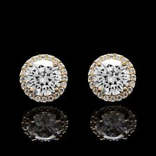 1.50CT Brilliant Created Diamond Halo Stud Earrings 14k Yellow Gold Round Cut