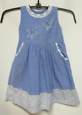 April Cornell Blue Chambray Floral Stripe Trim 100% Cotton Dress 2