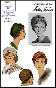 CLOCHE Hat Beret Millinery Sally Victor VOGUE 9619 Vintage 50's Sewing Pattern