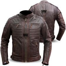 Genuine Cowhide Leather Motorbike Jacket Motorcycle Biker Brown Jacket CE Armour