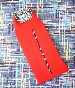 VTG 50s ~ Rock & Roll * RED * Nylon Socks w/Black Design ~ Deadstock ~ Shorties