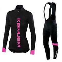 Women's Bike Bicycle Cycling Clothing Long Sleeve Jersey Padded Bib Tight Set