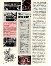 1959 NSU PRINZ ~ ORIGINAL 2-PAGE ROAD TEST / ARTICLE / AD