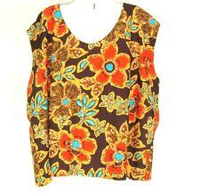 Vtg 1970s Women's Plus Size Sleeveless Top Blouse Stretchy Polyester Handmade