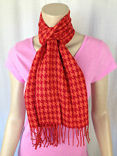 BNWT Ladies Rivers Brand Red/Orange Hounds Tooth Print Pretty Acrylic Scarf