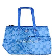 NEW COACH SIGNATURE GETAWAY WEEKENDER LUGGAGE GYM BAG TRAVEL TOTE BLUE 77321