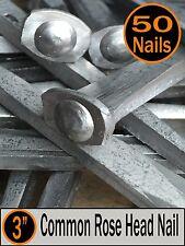 "(50) 3"" - COMMON ROSE HEAD NAIL  - Antique Vintage Rustic Nails - 10d"