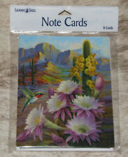 LEANIN TREE Cactus Flowers & Hummingbird #35601~8 Notecards~Blank Inside~
