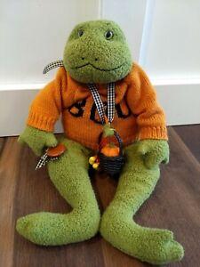 Bunnies By The Bay Frog Plush Wearing Orange Boo Shirt Halloween