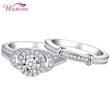 Blue Engagement Wedding Ring Set Size 10 2ct 925 Sterling Silver Round White Cz