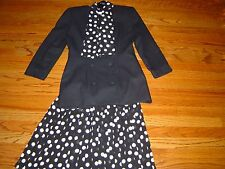 DENNIS GOLDSMITH Ladies Skirt Blazer Suit sz 4 polka dots summer fall