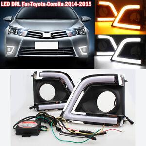 For Toyota Corolla 2014-2016 LED Daytime Running Lights Fog Lamp DRL Turn Signal