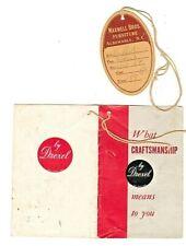 RARE 1930s - 1940s DREXEL FURNITURE TAG & SALES TAG MAXWELL BROS ALBERMARLE NC