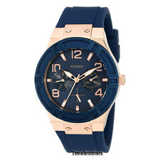 NEW GUESS WATCH Women * Rose Gold Case * Blue Silicone/Rubber Strap * U0571L1