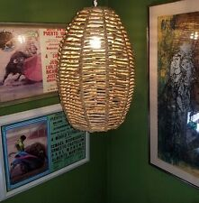 Vtg Danish Mid Century Modern Rope Paper Cord Ceiling Pendant Lamp Light Fixture