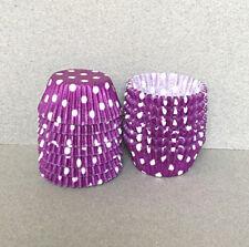 MINI Purple Polka Dot Cupcake Liners, Mini Cupcake Wrappers, Purple Candy Cups
