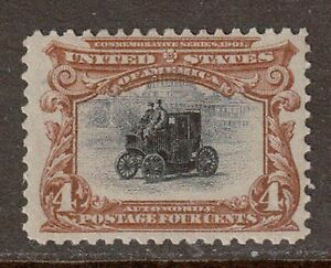 Scott #296 Mint Single, 1901 Pan American, Automobile