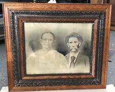 """Antique Double Ornate Gesso & Oak Wood Picture Frame Portrait Man Woman 26""""x30"""""""