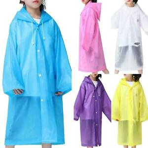 Kids Hooded Rainsuit Rain Poncho Children Raincoat Jacket Cover Coat Outwear Top