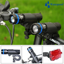2x Cree Q5 LED Mountain Bike Bicycle Cycle Zoomable Front +Rear Light Lamp Torch