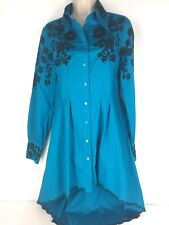 Roja Fit Flare Blue Tunic Shirt Black Embroidery Sz Small Western Rodeo Spanish