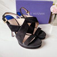 Stuart Weitzman Hester Crisscross Strap Platform Sandals Black Suede US 8.5 $475