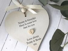 Personalised Grandparents Gift Heart Sign/Plaque Christmas/Anniversary P175b